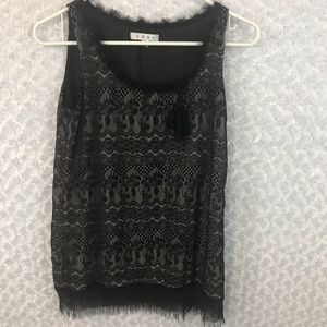 CAbi Black Lace Overlay Top